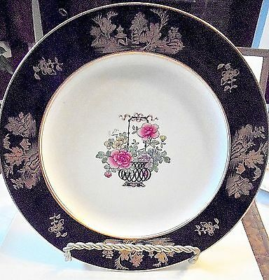 """Antique Vintage BOOTHS Silicon China Floral Plate -10""""3/8"""