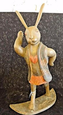 Late Edo/Early Meiji Period Japanese Wooden Lacquer/Gilt Moon Rabbit Statue