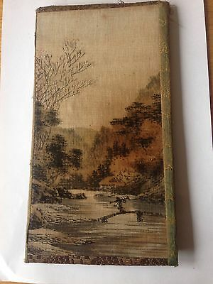 Asian Japanese Tapestry Mountain Fuji SignEd River Theme Very Old Silk Tapestry