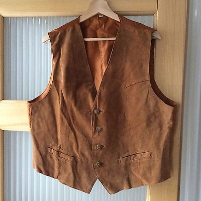 Tan Brown  Suede Leather Waistcoat Size L/XL 46
