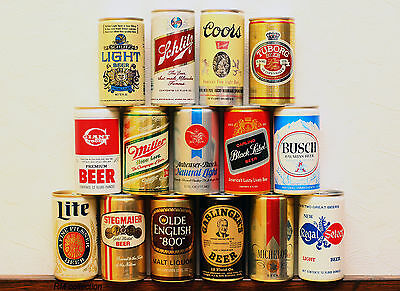 lot of 15 American beer cans 1970-80s bottom opened