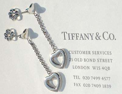 Tiffany & Co Sterling Silver Heart Link Drop Earrings