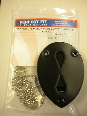 Perfect Fit Clip on Badge Holder Universal Tear Drop with snap and chain
