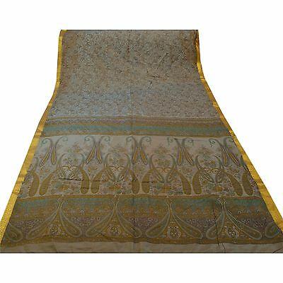 Sanskriti Vintage Printed Saree Art Silk Craft Green Fabric Zari Border Sari