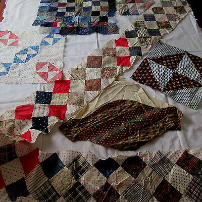 Lot of 1800's Antique Quilt Blocks Madder Brown Study Fabric Indigo Blue Red