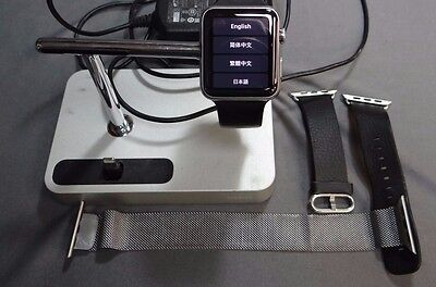 Apple Watch w/3 Bands & Belkin Charging Dock 1st Gen 316L Stainless
