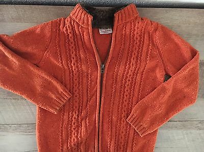 HANNA ANDERSSON Orange Zip Cardigan Faux Fur Collar Sweater Size 120   US 6-7