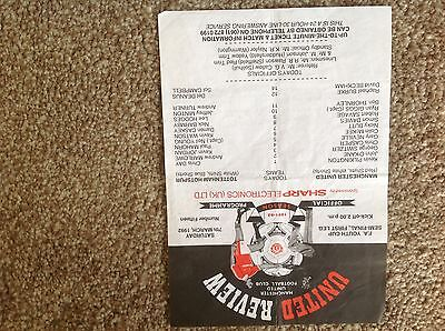 RARE Single A4 sheet FA YOUTH CUP United v Spurs RYAN GIGGS 07/03/92