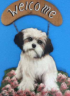 "Shitzu Shih Tzu Puppy Dog ""Welcome"" Sign Wall Plaque Hand-painted Tole on Wood"