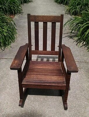 Child Mission Antique Oak Rocker Rocking Chair (possibly Stickley), Slatted Seat