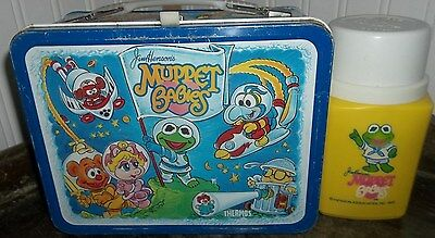 1985 Muppet Babies Metal Lunch Box & Thermos Lunchbox Set Nice Shape TV Lunchbox