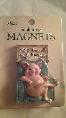 collectible magnet - pig in a chair