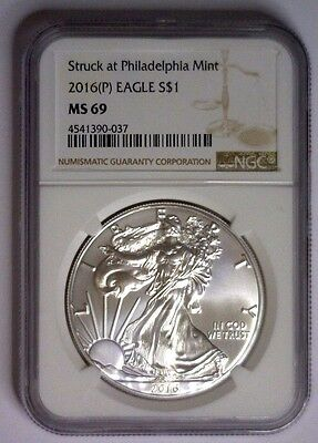 2016 (P) American Silver Eagle NGC MS69 Struck Philadelphia Mint Brown Label