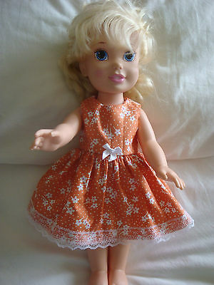 "Dolls clothes made to fit 14"" Disney Toddler doll ~Dress ~orange / white flower"