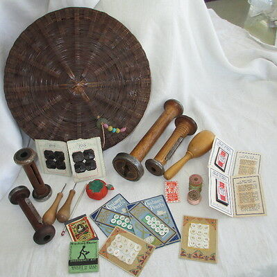 """Antique SEWING TOOLS ~ DARNER button needle packs spools 12"""" CHINESE BASKET 23pc"""