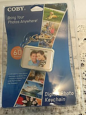 NEW Coby DP151 Keychain Digital Photo Frame 120 Photos TFT LCD White 1.5 Inch