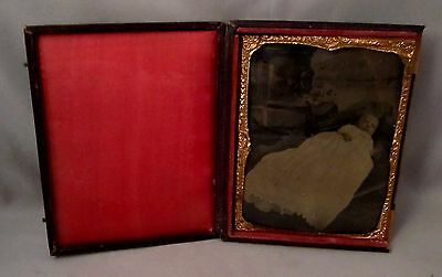 Tintype Photo 1/4th Plate Post Mortem Baby in Cradle Leatherette Case