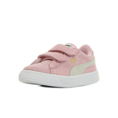 2633b33485cc4 Chaussures Baskets Puma fille Suede 2 Straps PS taille Rose Cuir Scratchs