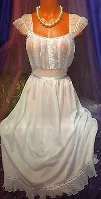 40's Vintage Peignoir Sweep Nylon Gown Sheer Blue Chiffon Victorian Lace XS S M