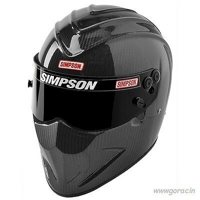 Simpson Carbon Fiber Diamond Back Helmet SA2015 Hans Device,Hybrid Ready,NHRA ~