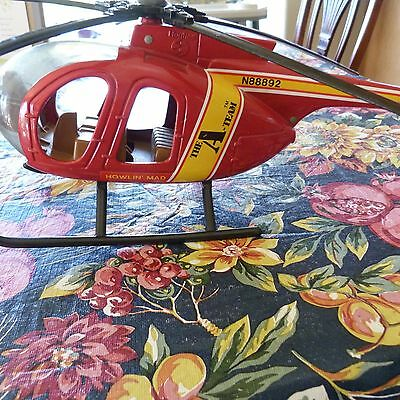 """Large 1983 Ertl The A-Team Hughes Helicopter 17 1/2"""" Complete Good Condition"""