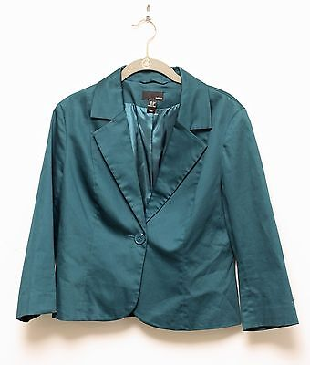 H&M Green Cotton Twill Fitted Suit Blazer Jacket Single Button Size 12