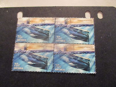No-3--2014 -CENT; OF  SUBMARINES    BLOCK  OF  4 STAMPS -PERF'; ---USED