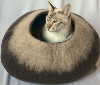 Brown beige Felted wool Cat Cave cat cocoon bed Handmade Felt cat caves wool bed