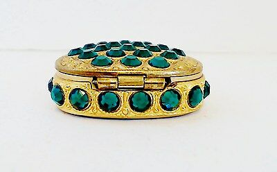 Jeweled Heart Pill Box Emerald Green Rhinestones Goldtone Enameled Interior EUC