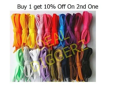 New Flat Coloured Shoe Bootlaces Trainer Skate Laces Choice of Colours Shoelaces