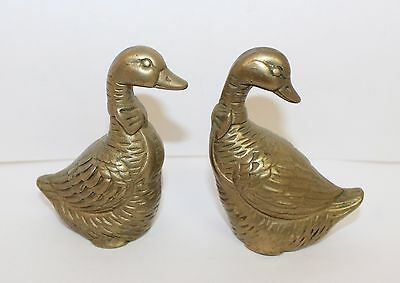 Vintage Brass Duck Pair Figurine Collectibles - Two Brass Ducks with Bows
