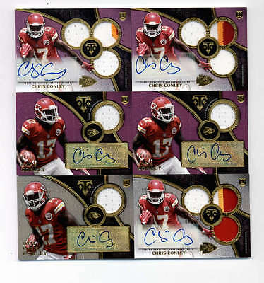 LOT (6) CHRIS CONLEY 2015 TRIPLE THREADS JERSEY and PATCH AUTO ROOKIE #ED H5171