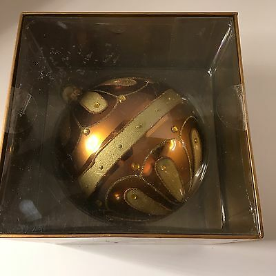 150mm Large Glass Hand Painted Gold Christmas Holiday Ornament