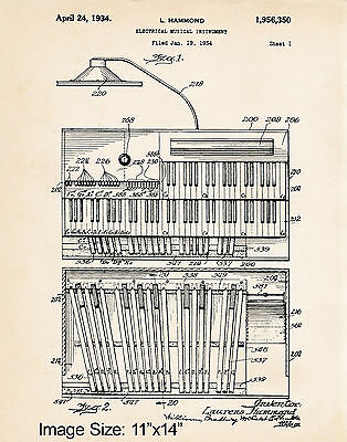 "11""x14"" Hammond Organ Player Gifts Patent Art Print Poster 1934 Church Organist"
