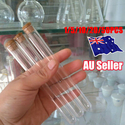 1-50x Plastic Test Tubes With Cork Stopper 20ML Volume Party Wedding Candy Jar N