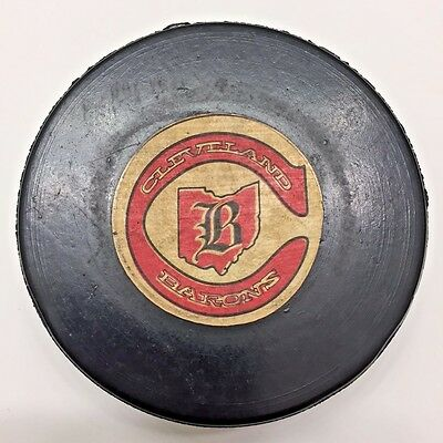 Rare 1977-78 NHL Cleveland Barons Viceroy Rubber Crested Game Puck