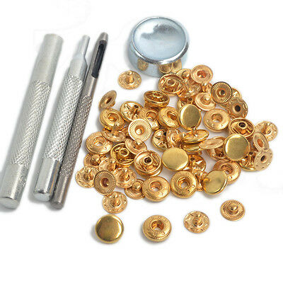 Punch Tool Set w/15 Sets Gold 10mm Snap Fasteners Button Press Studs Kit US