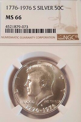1776-1976-S Kennedy Silver Half Dollar - Graded by NGC MS66 - Beautiful Coin!