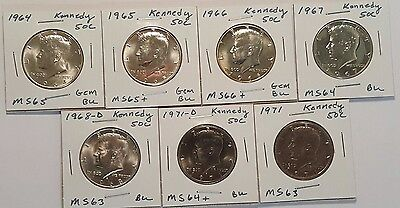 7 X Kennedy Half Dollar Lot - All very nice mint state (MS) coins