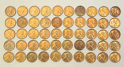 1940 S Lincoln Wheat Penny Pennies Cent 50 Coin Roll BU Uncirculated