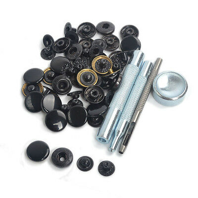 Punch Tool w/30 Sets Black Shinny 15mm Snap Fasteners Button Press Studs Kit US