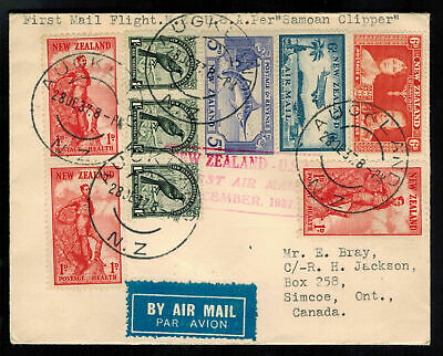 1937 New Zealand USA FFC First Flight Cover Pan American Airways Samoan Clipper