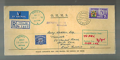 1966 Salisbury Rhodesia Postage Due cover to England Invalid Stamps Independence