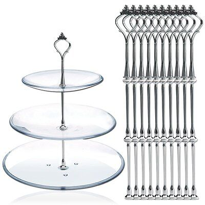 5pcs 3 Tiers Vintage Crown Wedding Cake Plate Tiered Stand Handle DIY Fitting