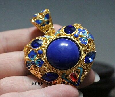 China fine Cloisonne Handwork Heart-shaped inlaid LUCKY pendant CH07