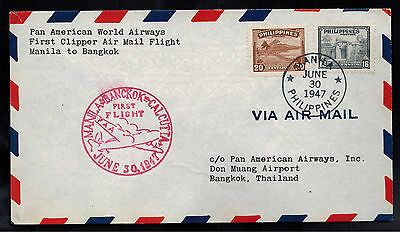 1947 Philippines First Clipper Flight Cover Bangkok Thailand FFC Pan Am Airways