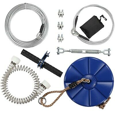 95 Feet Zip Line Kit with Cable,Brake and Seat for Kids,Grip Handle Bar Trolley