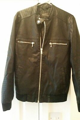 mens black faux leather jacket from River Island size M