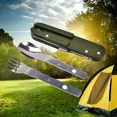 Army Green Folding Stainless Steel Camping Knife Fork Spoon Bottle Opener   OZ