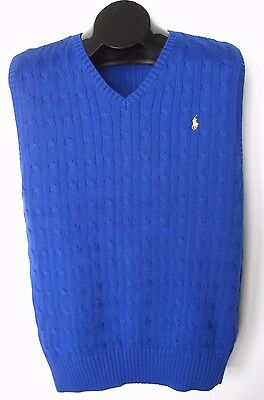 RALPH LAUREN Juniors Blue V-Neck Sweater Vest Size XL(18/20)